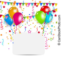 celebration card with balloons, confetti and hanging flags