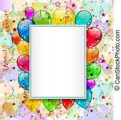 Birthday card with balloons and confetti - Illustration...