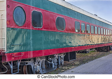 vintage railroad passenger car - red and green vintage...