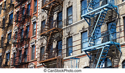 Row of Colorful Buildings in New York - Row of colorful...