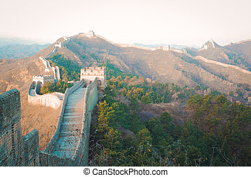 China great wall of in winter - Ancient great wall of China...