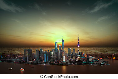 Aerial photography Shanghai skyline at sunset