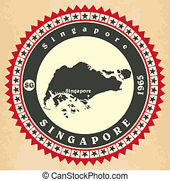 Vintage label-sticker cards of Singapore. Vector...