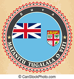 Vintage label cards of Fiji flag. Vector illustration