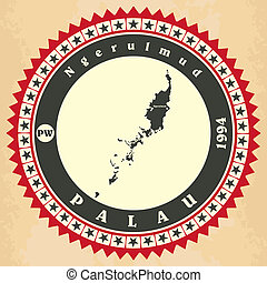 Vintage label-sticker cards of Palau. Vector illustration