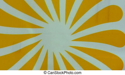 Sun or flower symbol flag - Waving yellow flower or sun flag...