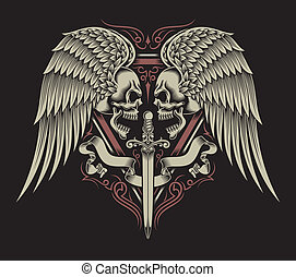 Two Faced Skull With Wings & Sword - fully editable vector...