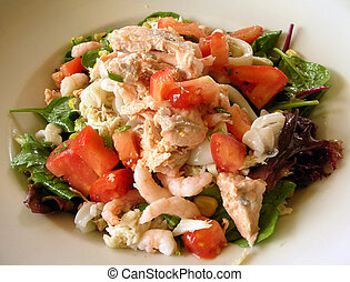 Seafood salad dish - Delicious seafood salad dish vegetable,...