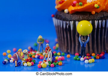 Plastic People Cleaning Up a Messy Cupcake - Miniature...