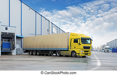 Cargo Transportation - Truck in the warehouse