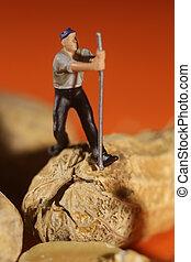 Plastic People Working on Peanuts - Miniature Fake People...