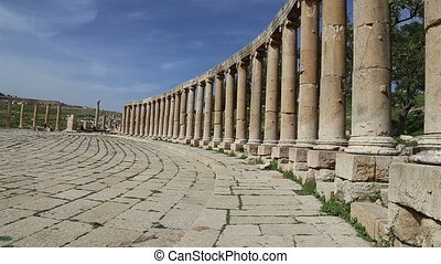 Forum Oval Plaza in Gerasa Jerash, Jordan Forum is an...