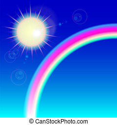 sun with rainbow - sunny weather background with reflection...