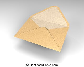 floating envelope for mail - cartoon of a single open and...