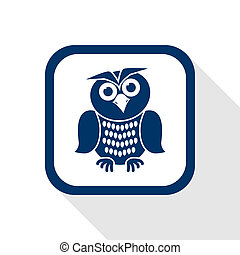 owl flat icon - square blue icon owl with long shadow