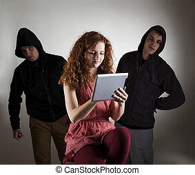 Internet danger - Concept of potential internet danger with...