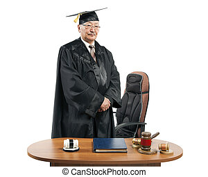 Asian mature judge - mature man judge at table isolated on...