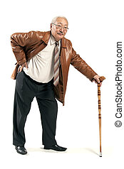 Asian man with cane