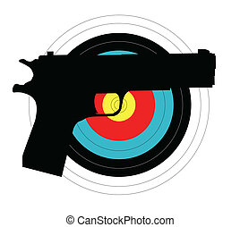 Pistol Target - Silhouette of a rifle against a target all...