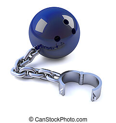 3d Chained bowling ball - 3d render of a bowling ball with...