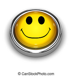 3d Smiley button - 3d render of a smiley face button