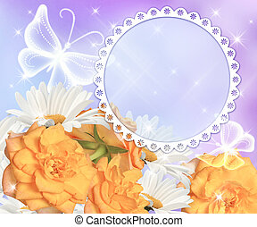 Flowers and round photo frame - Daisy, yellow roses and...