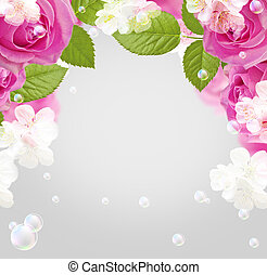 Roses and white flowers - Card with frame roses, white...