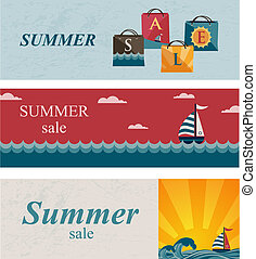 Three summer sale banners Shopping bags with the word sale...