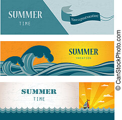 Three banners of summer time and seasonal sale - Three...
