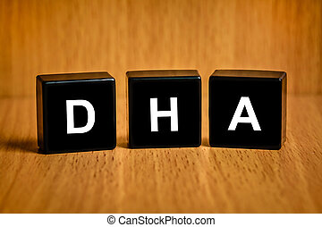 DHA or Docosacexaenoic acid on black block - DHA or...