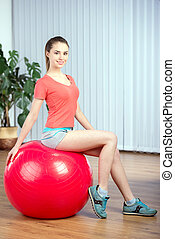 Fitness Woman - Young beautiful woman with fitness ball