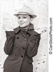 女, 旧式, に対して, 感情的, 衣類, 新聞