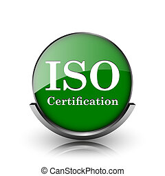 ISO certification icon - Green shiny glossy icon on white...