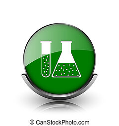 Chemistry set icon - Green shiny glossy icon on white...