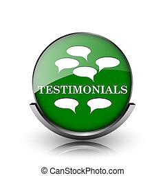 Testimonials icon - Green shiny glossy icon on white...