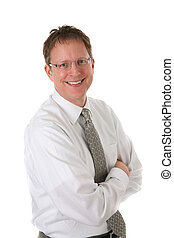 Mid-age Businessman Smiling Portrait Isolated - Mid-age...