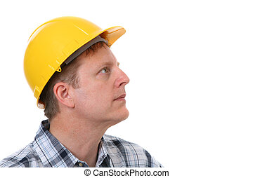 Cheerful Construction Worker Portrait Isolated - Cheerful...