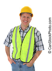 Smiling Mid-age Construction Worker Portrait Isolated -...