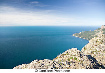 hight mountains.  - in hight mountains. view on ocean