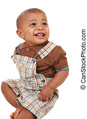 happy big smiling 1-year old baby boy portrait on isolated...