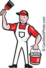 House Painter Holding Paint Can Paintbrush Cartoon -...