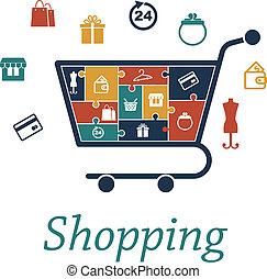 Shopping concept puzzles with a cart and icons - Shopping...