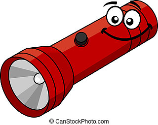 Cartoon flashlight - Red flashlight in cartoon style...