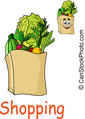 Brown shopping bag with fresh groceries - Brown paper...
