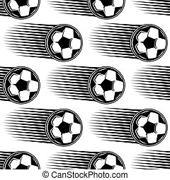 Speeding soccer ball seamless pattern - Speeding black and...