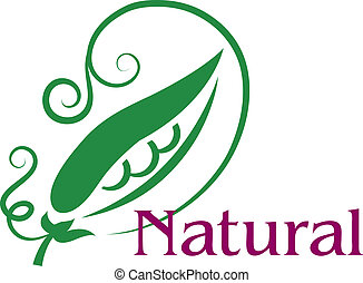 Natural food emblem or label - Natural emblem or label with...