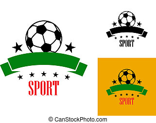 Football or soccer emblem - Sport emblem or badge with a...