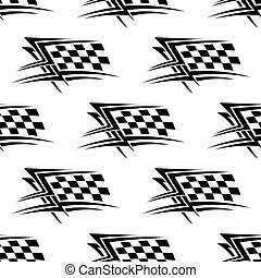 Black and white checkered flag seamless pattern - Black and...