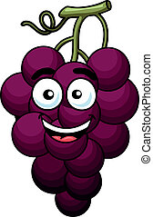 Branch of purple grape fruit in cartoon style with funny...