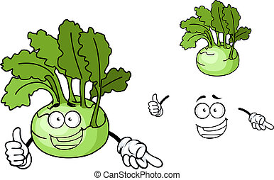 Fun cartoon kohlrabi vegetable - Fun cartoon kohlrabi with a...